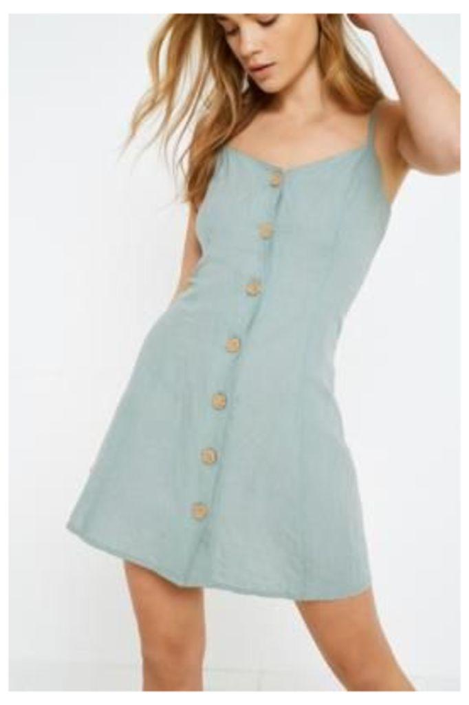 UO Linen Button-Through Ladder Back Dress, green