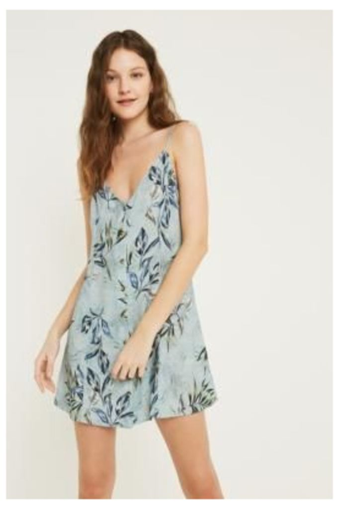 UO Demi Blue Button-Through Slip Dress, blue