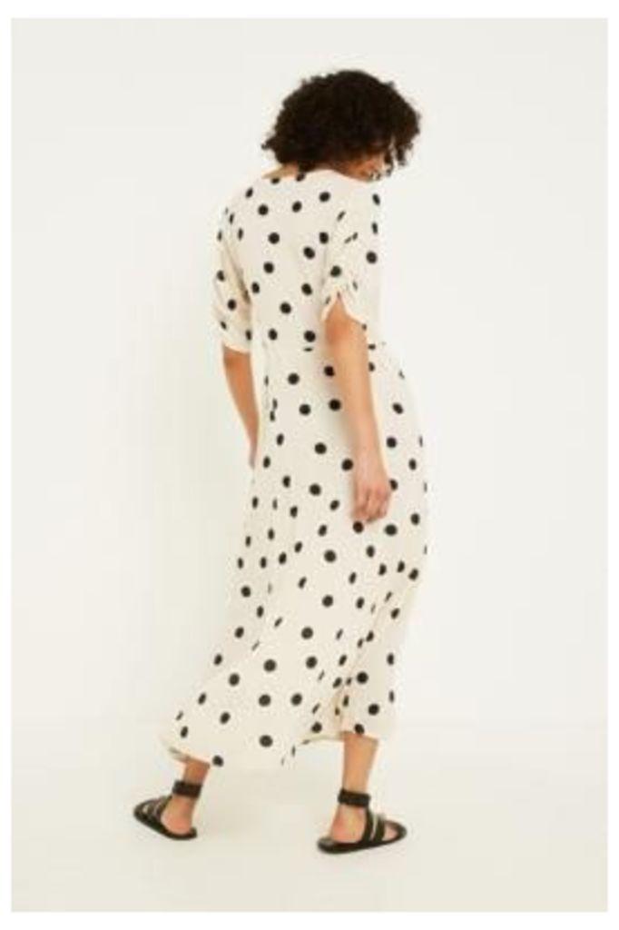 UO Jasmin Julia Polka Dot Button-Through Midi Dress, white