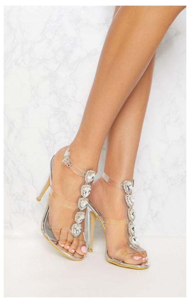 Silver Jewel Heeled Sandal, Grey