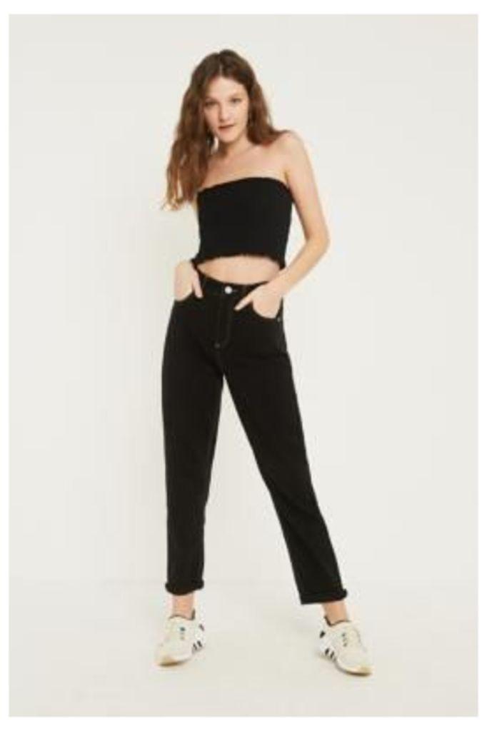 BDG Mom Contrast Stitch Black Jeans, black