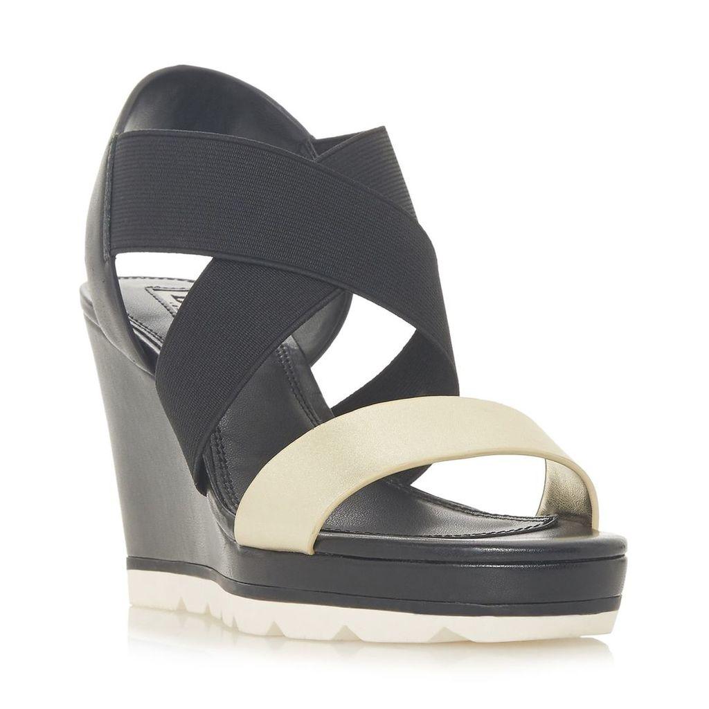 Dune Kos Cross Strap High Wedge Heel Shoes, Black
