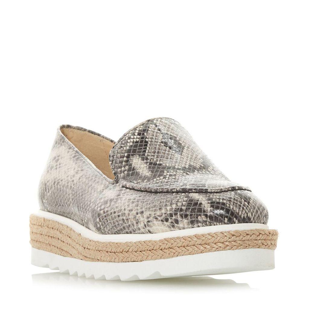 Dune Genie Jute Flatform Loafers, Grey