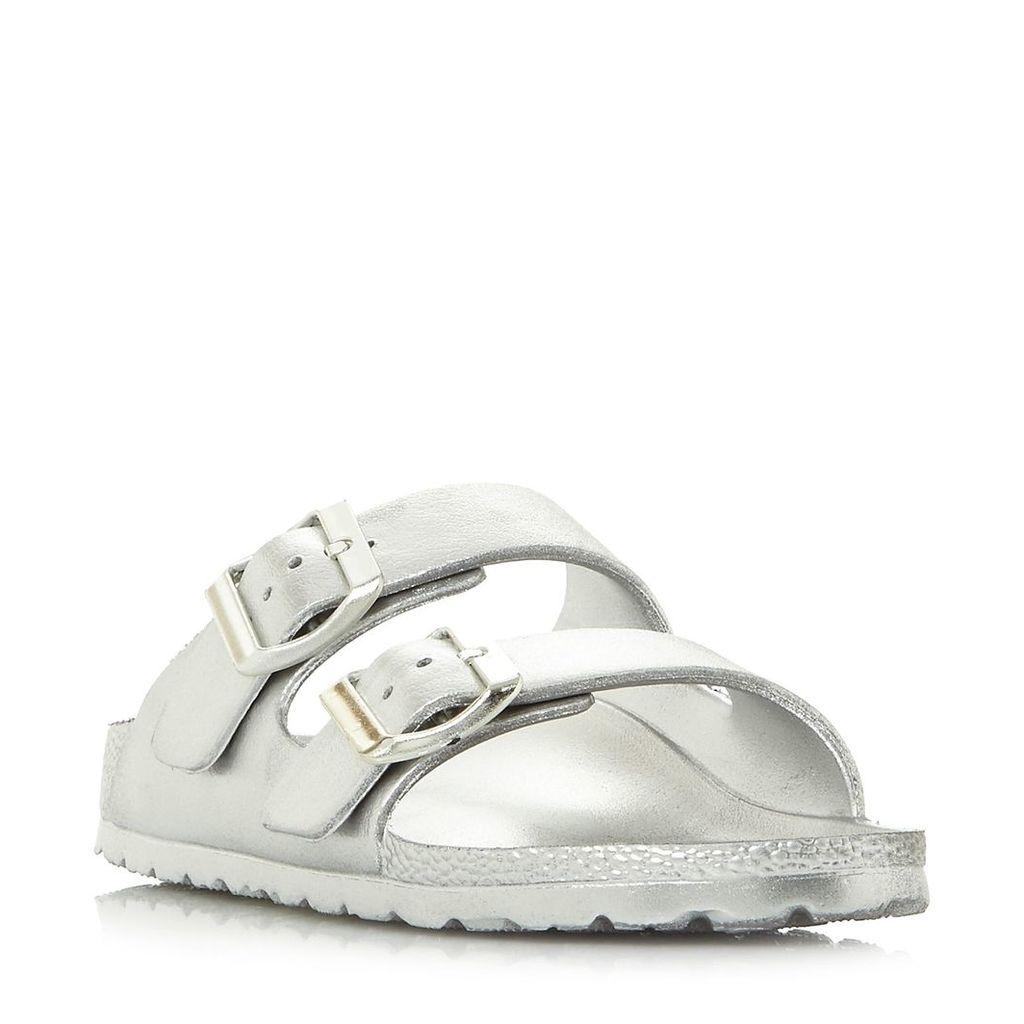 Steve Madden Bubbles Sm Buckle Footbed Sandal Shoes, Silver