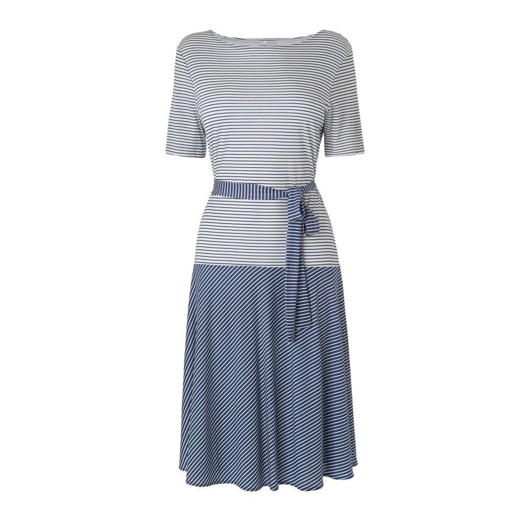 L.K.Bennett Emile Blue Cream Cotton Dress, Multi-Coloured
