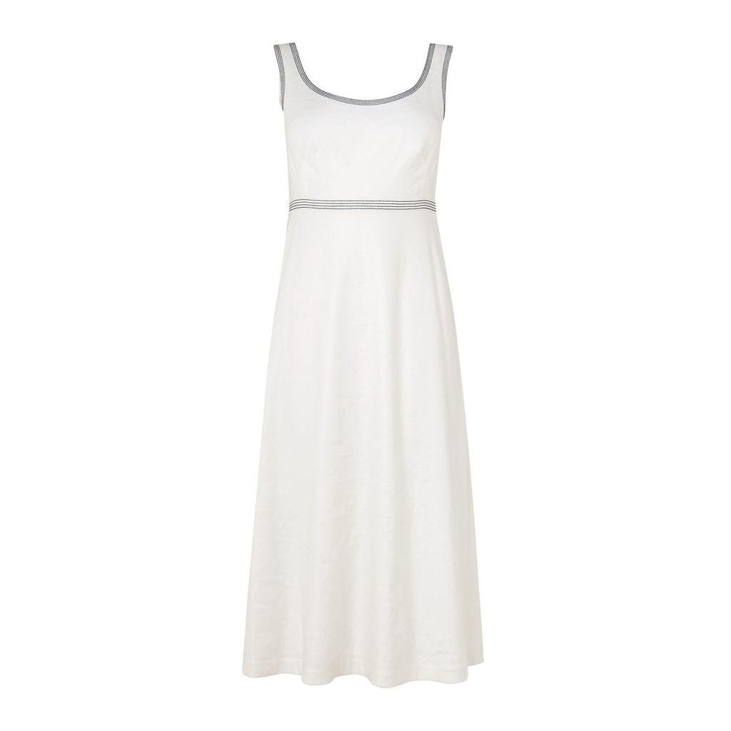 L.K.Bennett Aurelie White Linen Dress, Multi-Coloured