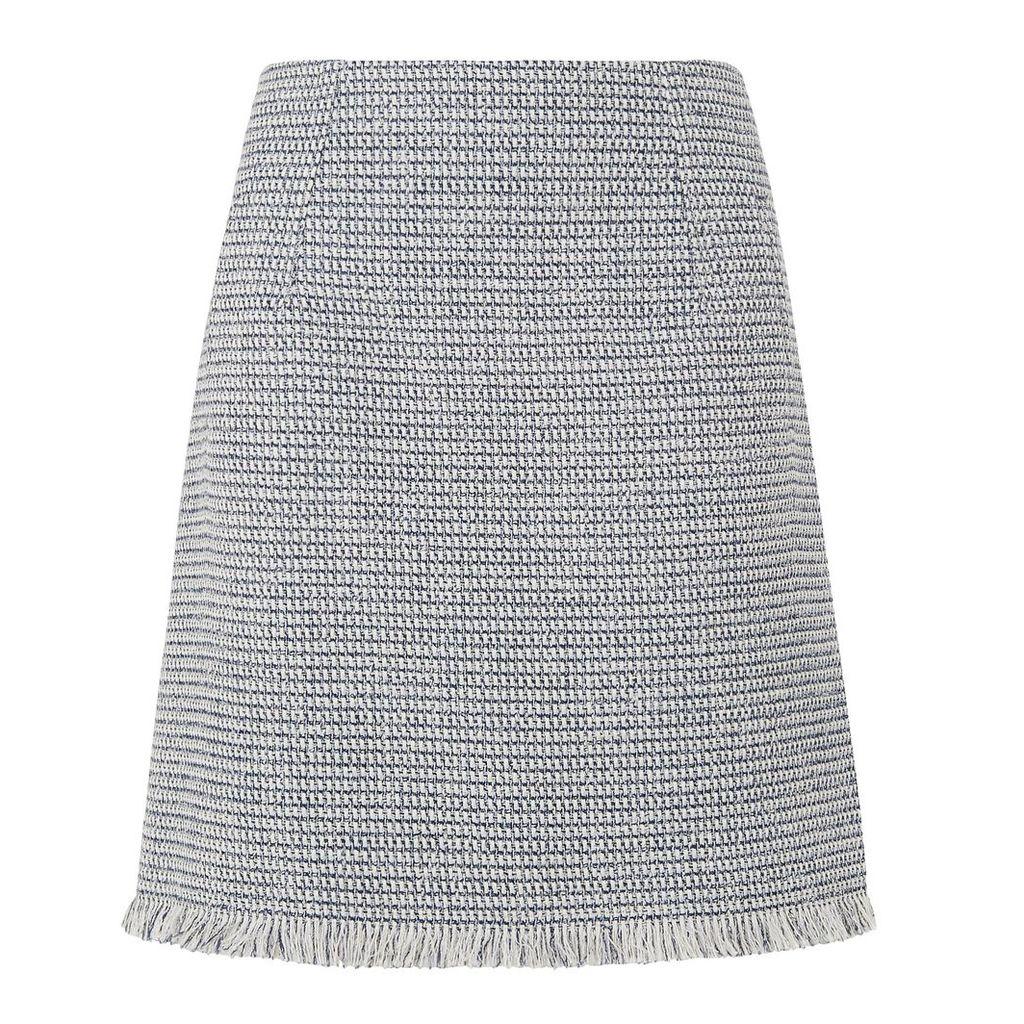 L.K.Bennett Josie Cream Navy Cotton Skirt, Multi-Coloured