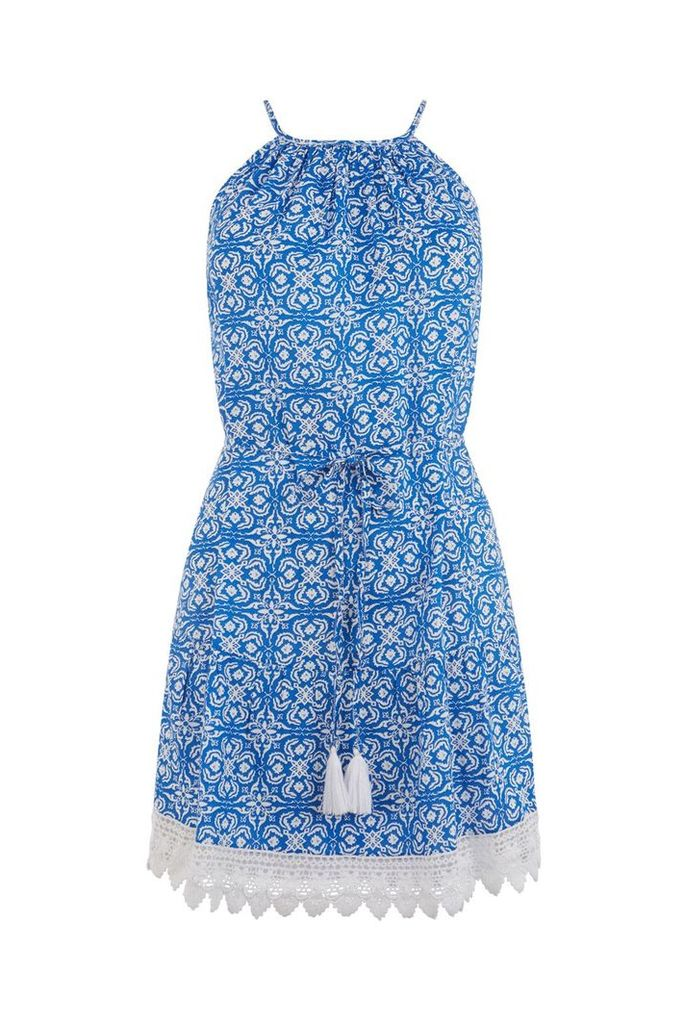 Oasis Apollonia tile print dress, Blue Multi
