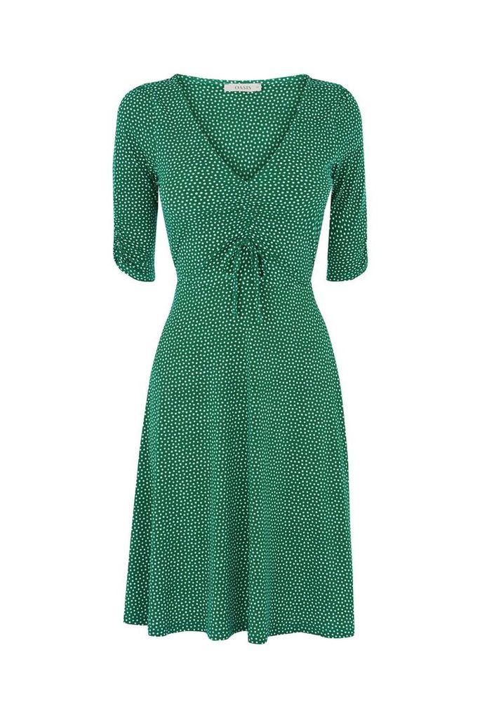 Oasis Spot rouched tea dress, Multi-Coloured