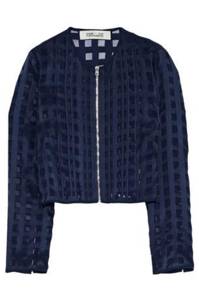 Diane Von Furstenberg Woman Pintucked Fil Coupé Chiffon Jacket Navy Size 10