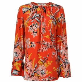 Diane Von Furstenberg Long Sleeved Keyhole Blouse