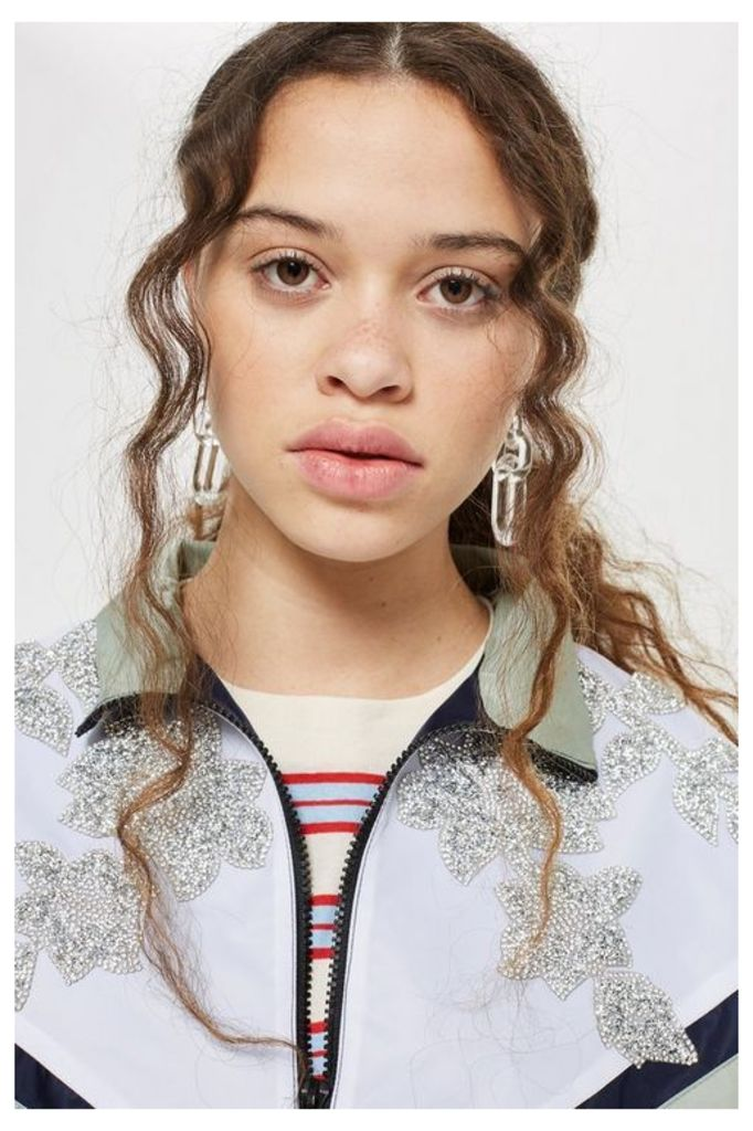 Womens Petite Embellished Windbreaker Jacket - Mint, Mint