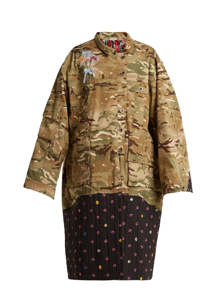 Contrast-panel camouflage-print jacket