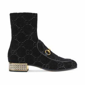 Horsebit GG velvet boot with crystals