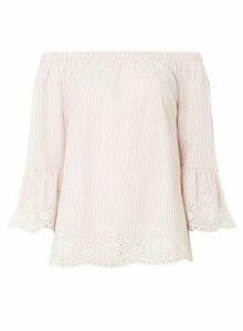 Womens Tall Blush Stripe Bardot Cotton Top - Pink, Pink