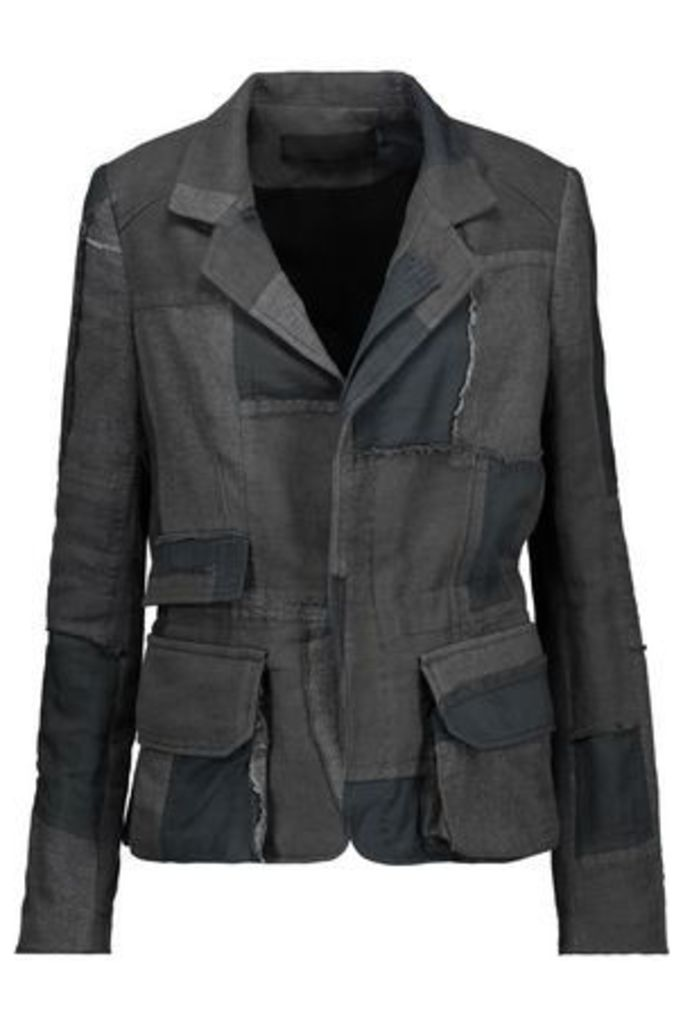 Haider Ackermann Woman Distressed Patchwork Cotton And Linen-twill Jacket Anthracite Size 38