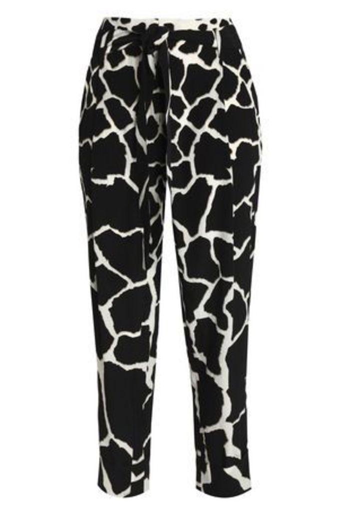 Roberto Cavalli Woman Printed Silk Tapered Pants Black Size 46