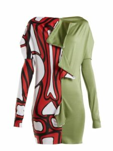 Matty Bovan - Draped Panelled Stretch-jersey Top - Womens - Khaki Multi