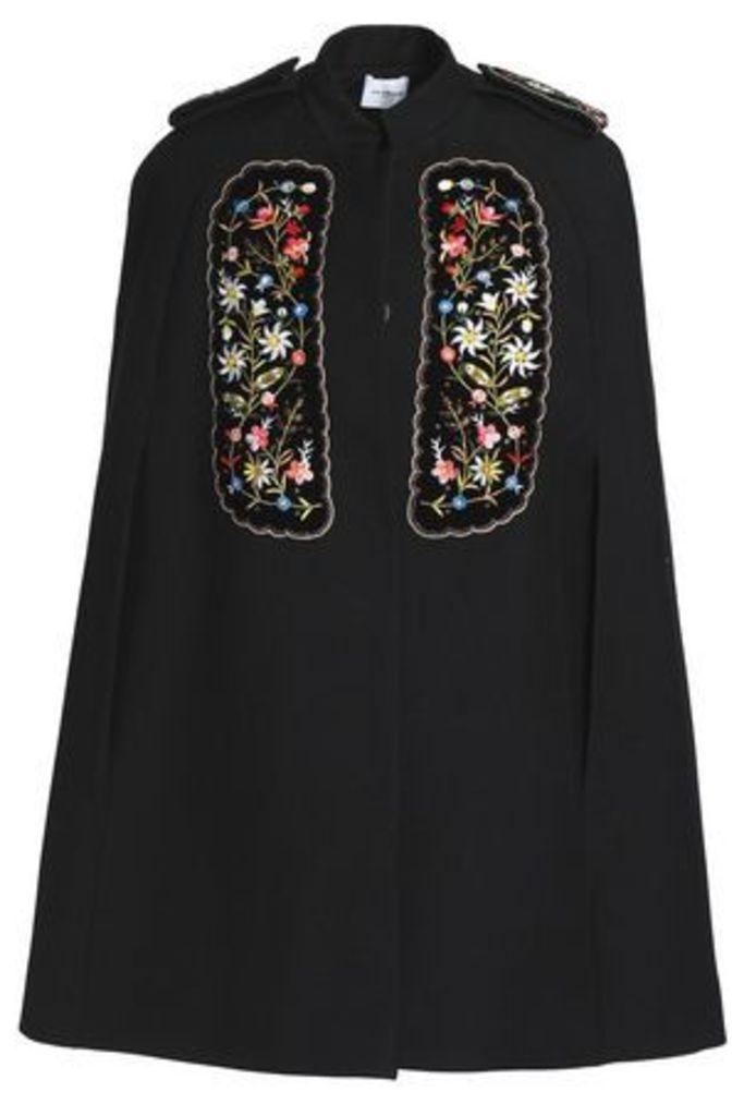 Vilshenko Woman Embellished Velvet-appliquéd Gabardine Cape Black Size 12