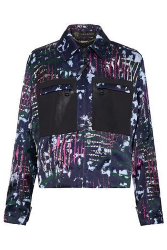 Versace Woman Leather-paneled Printed Duchesse-satin Jacket Multicolor Size 44