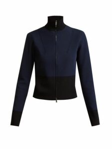 Colville - Long-sleeved Panelled-back Sweater - Womens - Black Blue
