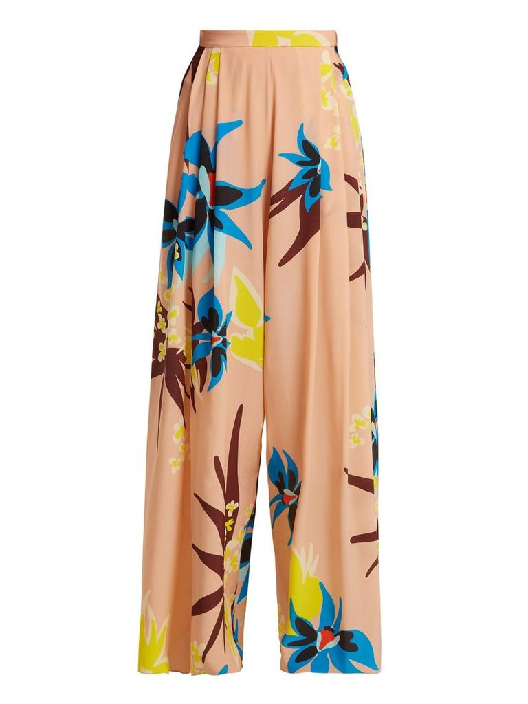 Wide-leg Hibiscus-print silk trousers