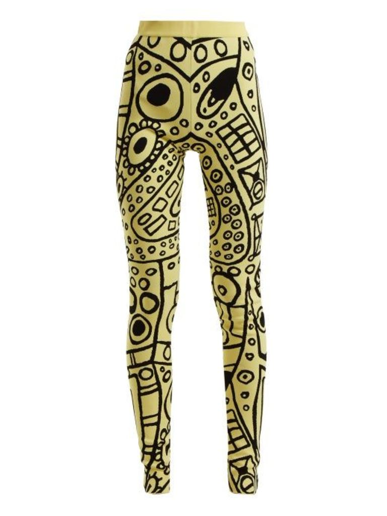 Abstract-jacquard high-rise leggings