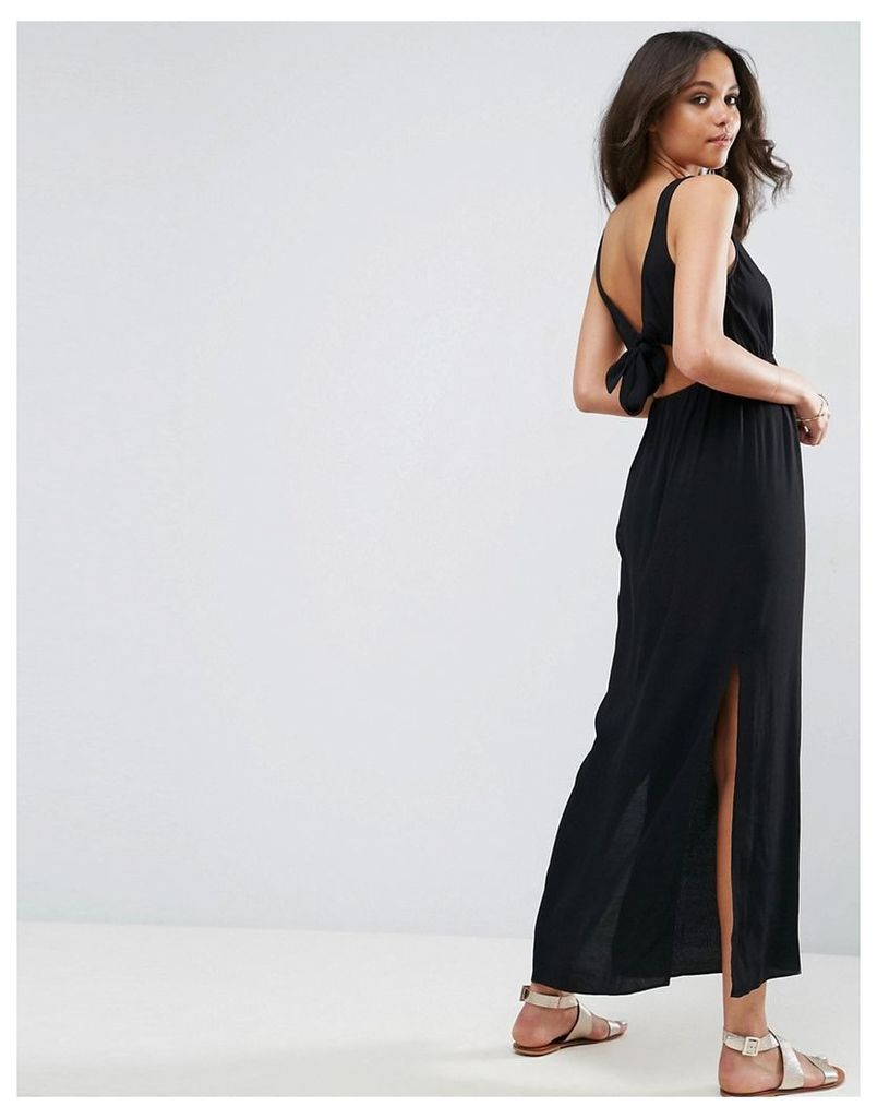 ASOS open back maxi dress with bow detail - Black