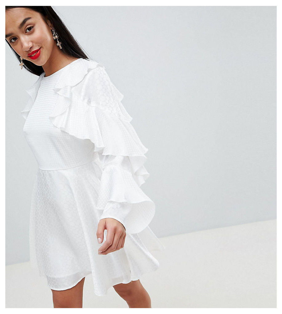 ASOS DESIGN Petite jacquard mini dress with ruffle sleeves and cut out back - White
