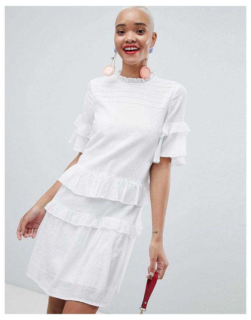 Pieces Ruffle Layer Smock Dress - Bright white