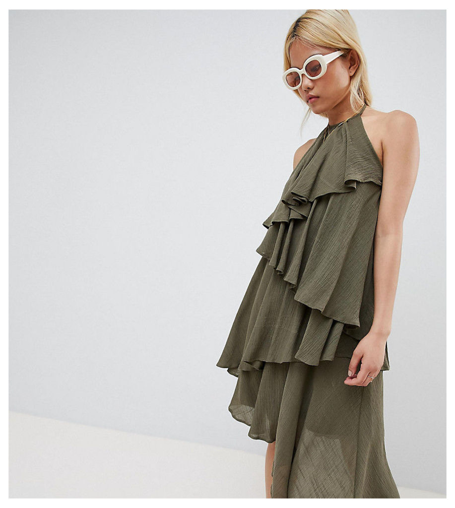 Vero Moda Petite Ruffle Halter Neck Dress - Ivy green