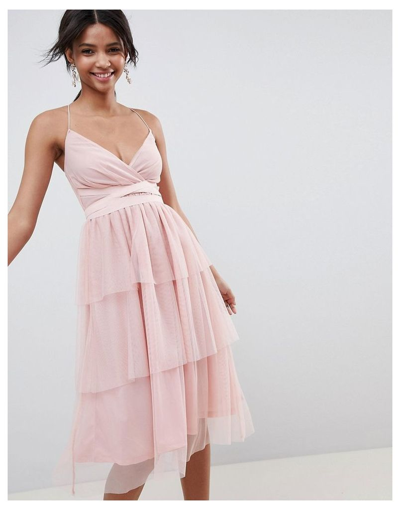 ASOS DESIGN tiered tulle midi dress - Nude