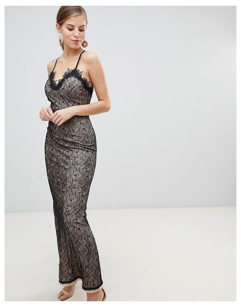 Little Mistress All Over Lace Maxi Dress - Black