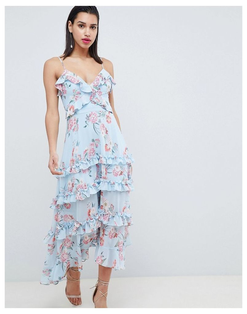 Forever New Floral Printed Maxi Dress with Tie Back - Blue floral