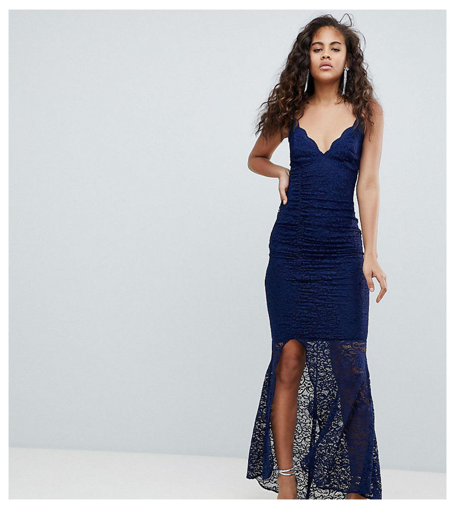 ASOS DESIGN Tall deep plunge lace bodycon maxi dress with fishtail - Navy