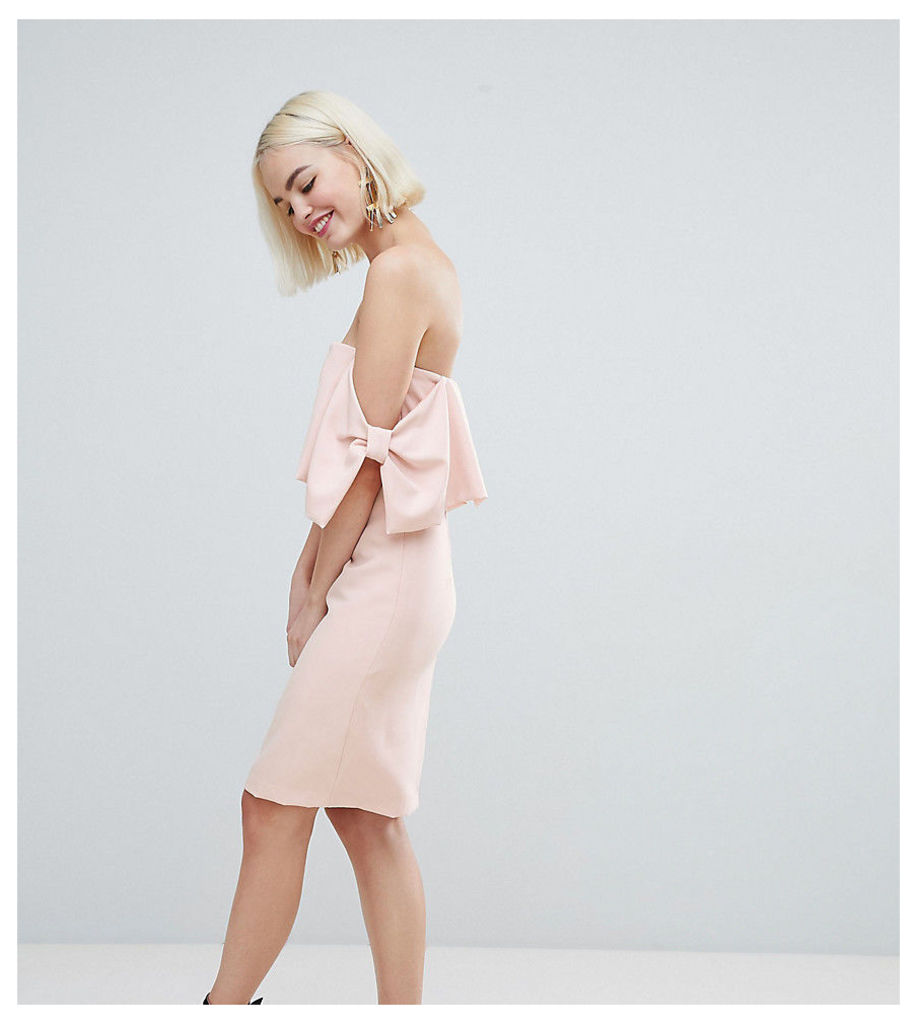 New Look Bow Sleeve Midi Dress - Nude