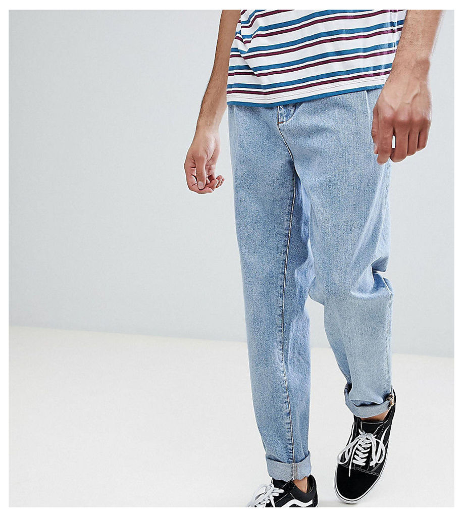 ASOS TALL Double Pleated Jeans In Mid Wash Blue - Mid wash blue