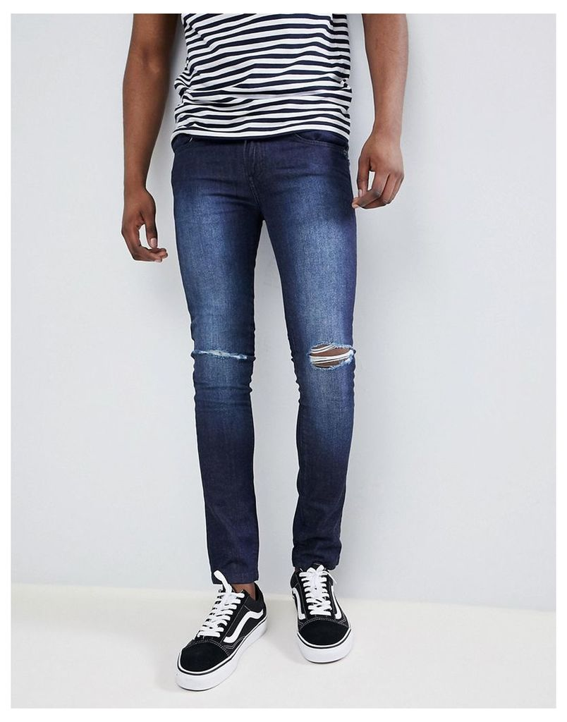 Loyalty and Faith Siret Super Skinny Jeans with Ripped Knees in Dark Wash - Blue