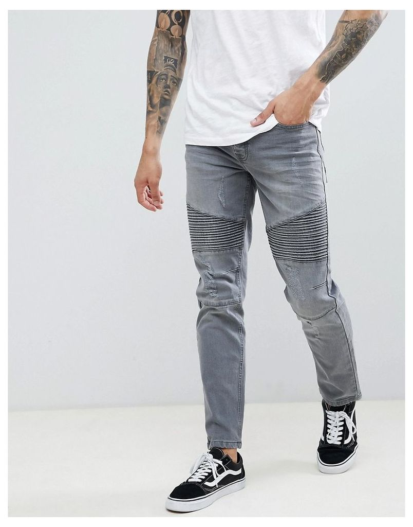 Threadbare Skinny Fit Biker Jeans in Grey Wash - Grey wash