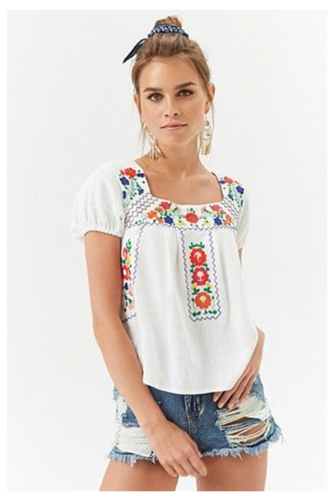 Floral Embroidered Linen-Blend Top