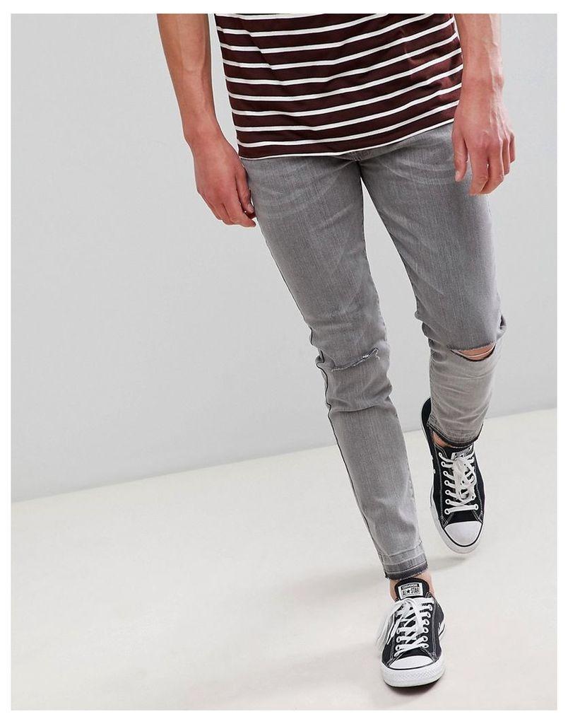 D-Struct Skinny Frayed Hem Knee Rip Jeans - Vintage black