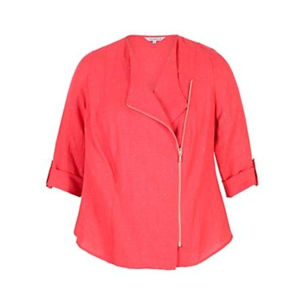 Chesca Tab Trim Pinstripe Jacket, Coral