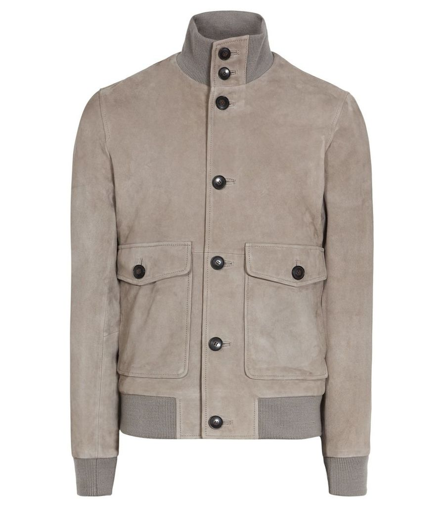 Reiss Connor - Suede Button Jacket in Stone, Mens, Size XXL