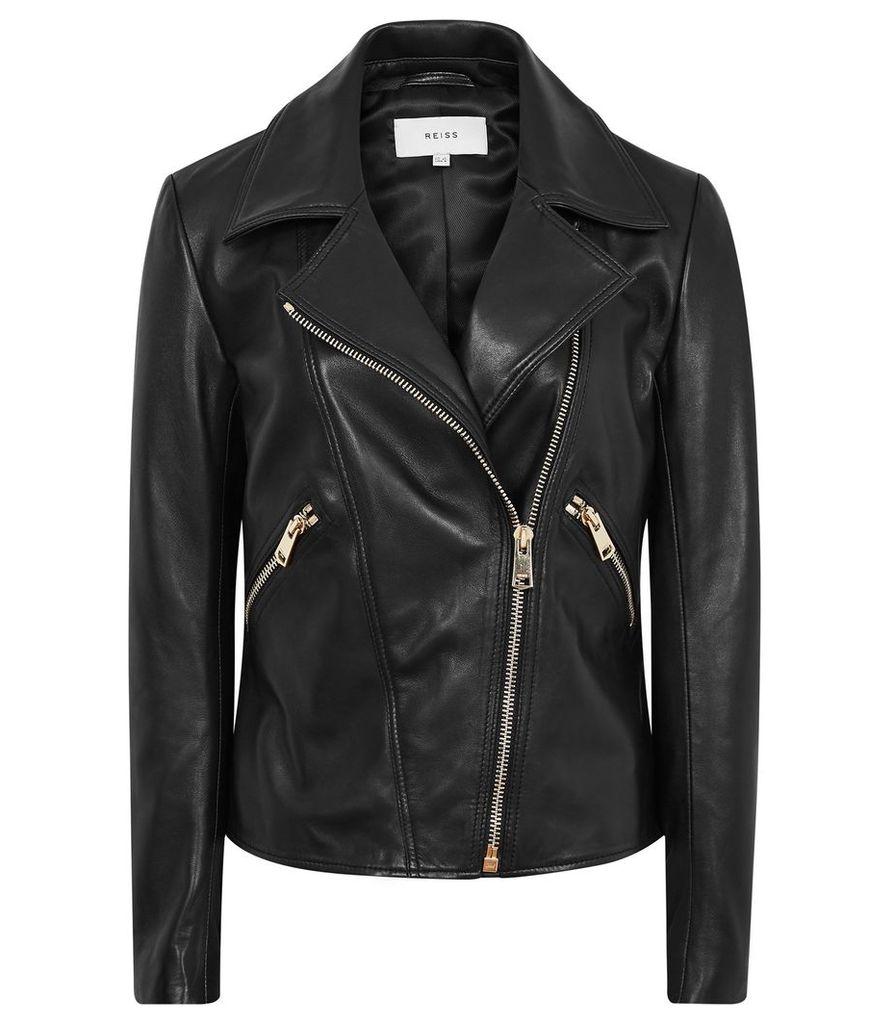 Reiss Drew - Zip-up Leather Jacket in Black, Womens, Size 14