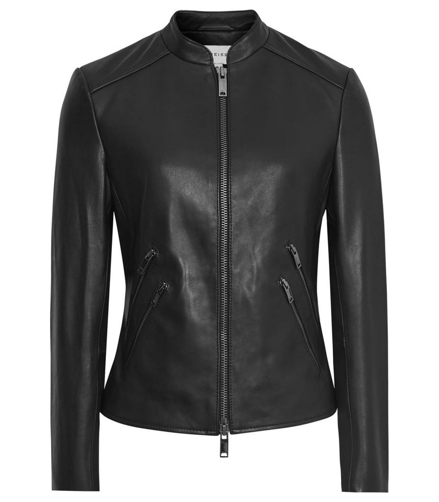 Reiss Thea - Collarless Leather Jacket in Black, Womens, Size 14