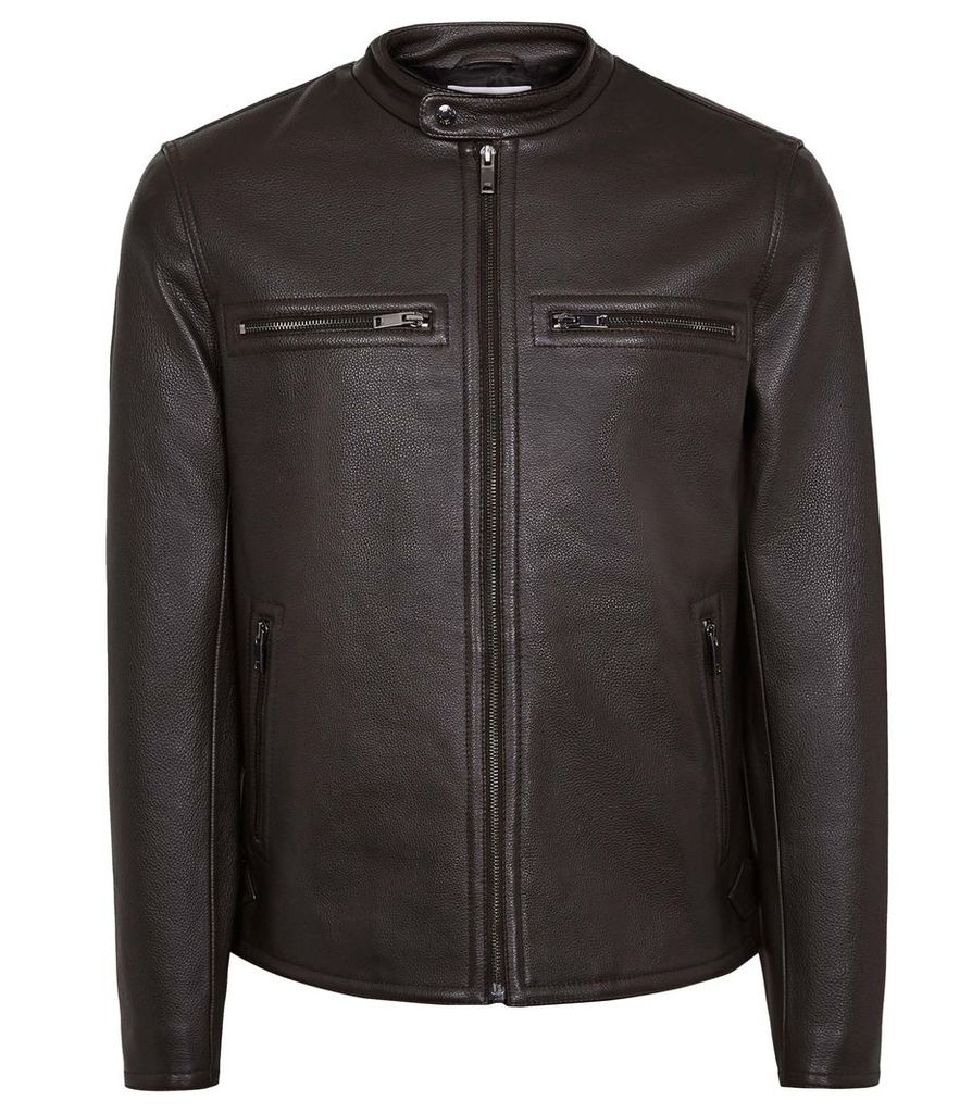 Reiss Sunset - Leather Jacket in Brown, Mens, Size XXL
