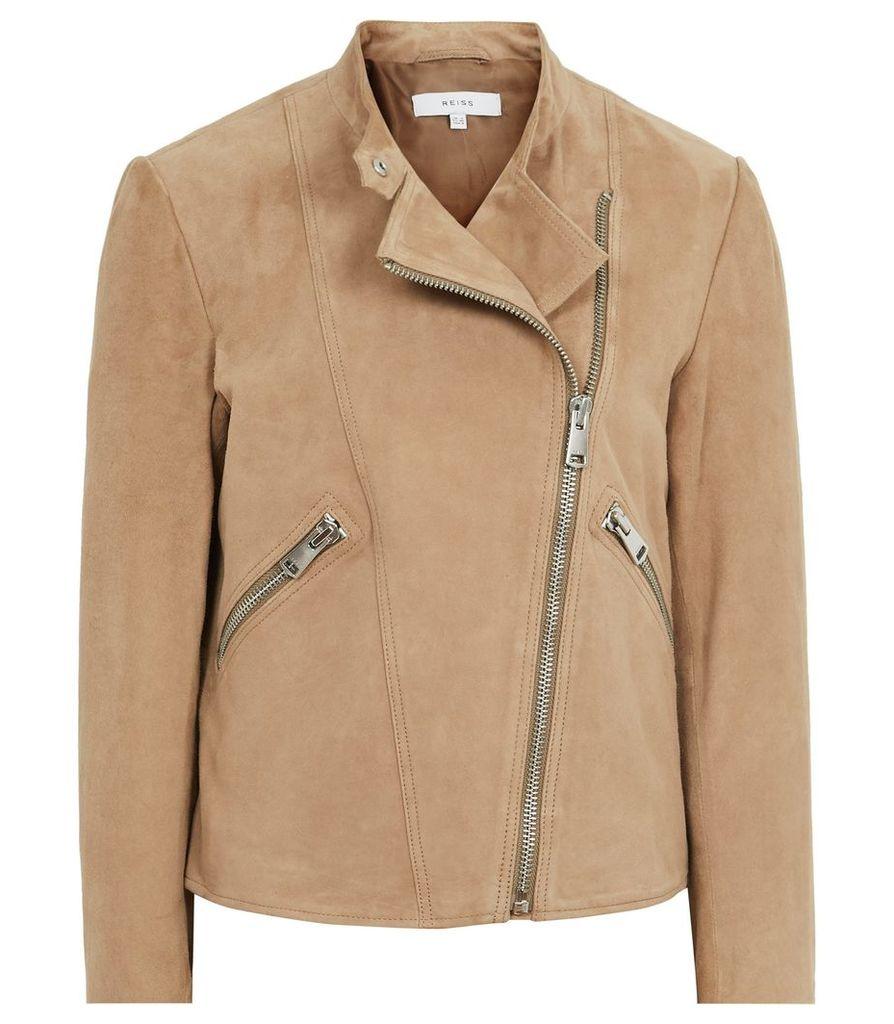 Reiss Ellen - Suede Biker Jacket in Sand, Womens, Size 16