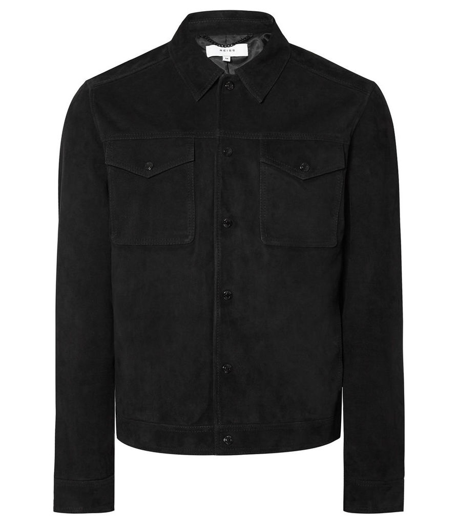 Reiss Jagger - Suede Trucker Jacket in Black, Mens, Size XXL