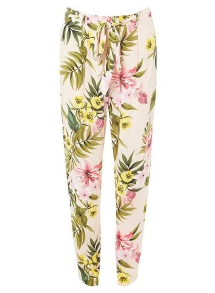 Womens Blush Floral Print Joggers- Pink, Pink