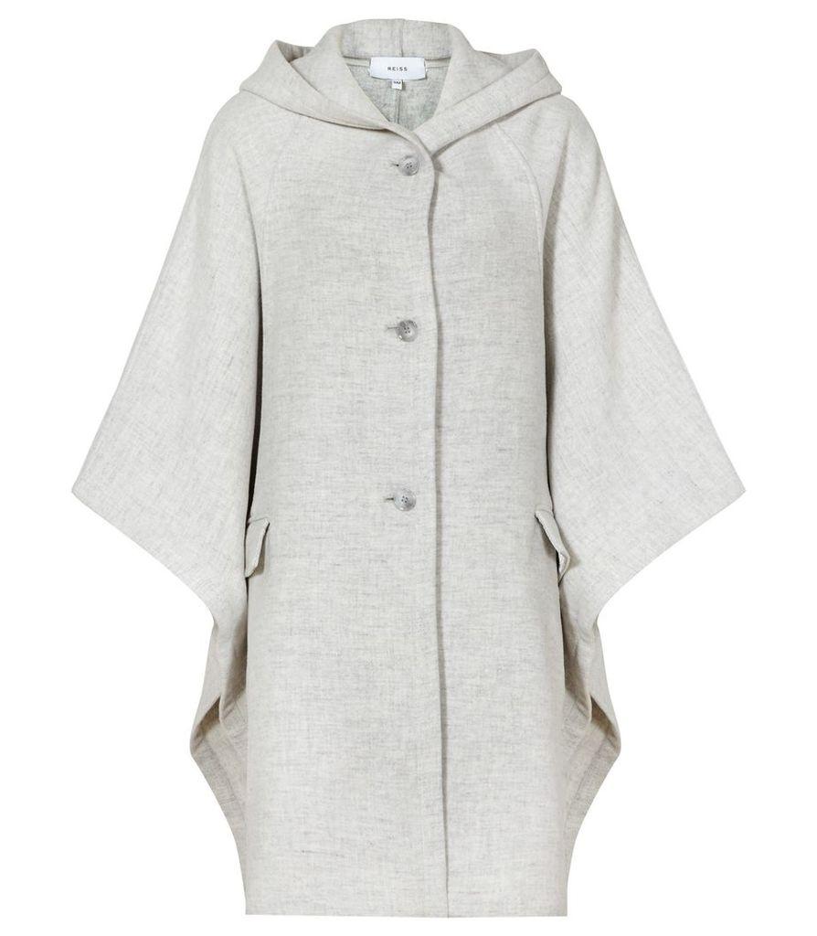 Reiss Dita - Hooded Cape in Light Grey, Womens, Size M/L